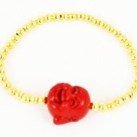 Bracelet Red Resin Buddha on 4mm Gold-filled Beads