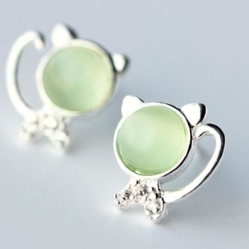 womens girls cute opal cat earrings 925 sterling silver free gift box free shipping 19 2