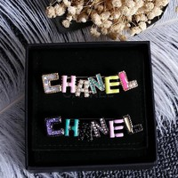 CHANEL Colorful drop oil and gas fashion new brooch Black Background