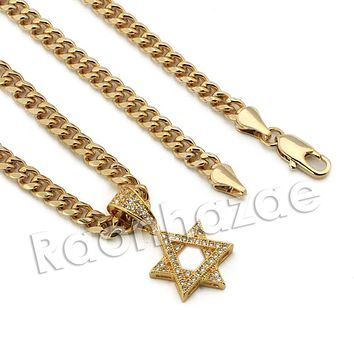 Lab diamond Micro Pave Mini Star of David Pendant w/ Miami Cuban Chain BR085