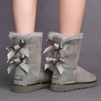 UGG Bow Leather Winter Wool Snow Boots Shoes