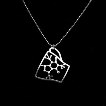 Caffeine Molecule necklace-  Coffee Cup pendant- Sterling silver