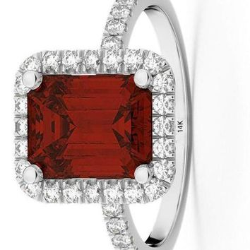 CERTIFIED 3.32ct 14k Gold Emerald Cut Garnet with Diamonds Engagement Ring