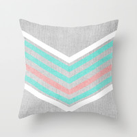 Teal, Pink and White Chevron on Silver Grey Wood Throw Pillow by Tangerine-Tane | Society6