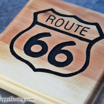 Route 66 Sign, Get Your Kicks on Route 66, Cars Land, Radiator Springs, Carved Wood Hanging Sign, by The Jolly Geppetto