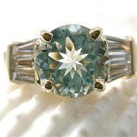 Gorgeous Aquamarine and Diamond Ring. Aquamarine Engagement Ring. Blue Aquamarine and Baguette Diamond Ring