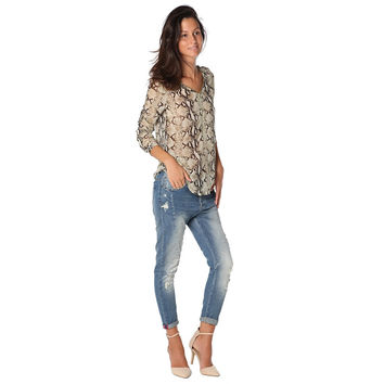 Women's Brown Animal Print Blouse With Zip Trim To Front