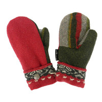 Red Army Green Gray WOOL MITTENS, Women's Mittens, Recycled Sweaters Handmade in Wisconsin Upcycled Mittens Stripes Fleece Lined Gift