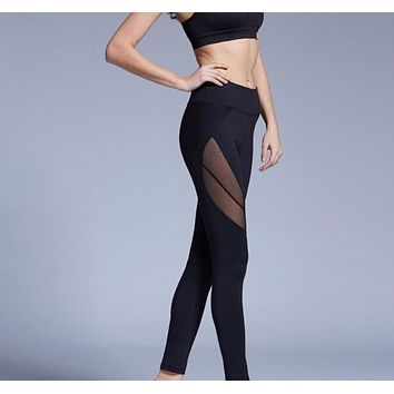 Womens Mesh Patchwork Slim Fit Yoga Exercise Leggings