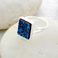 Black Friday Sale 12% off Geode Ring,Druzy Ring,Drusy Ring,Drusy Quartz,Agate Ring,925 Sterling Silver