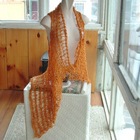 Lacy long vest openwork asymmetric; cardigan sweater medium large plus women in tan and tangerine