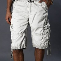 X-Ray Men's Classic Cargo Shorts- Color White