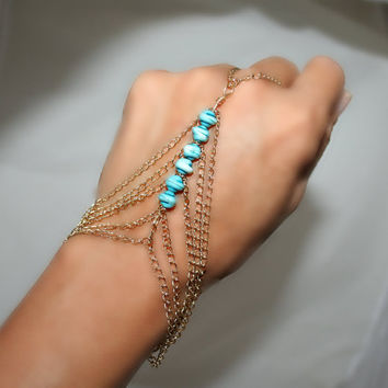 Slave bracelet , bracelet ring, ring bracelet, slave ring adjustable, with plastic beads and gold plated chain  (m1o)