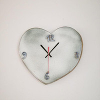 Grey heart clock, ceramic gray heart clock of, Valentine's clock, lovers clock, boho rustic decor, large heart clock