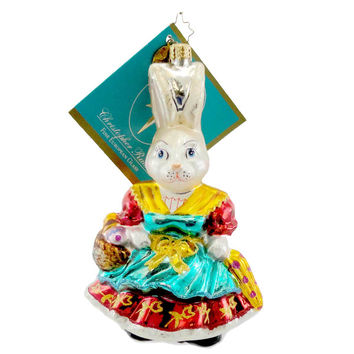 Christopher Radko Mrs Bunny Basket Easter & Spring Glass Ornament