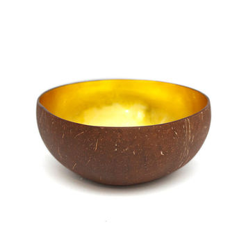 Etsy Transaction -          Golden lacquer coconut shell bowl with tiny silver foils