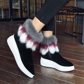 NAYIDUYUN     Women Shoes Genuine Leather Wedges Platform High Heel Riding Boots Pointed Toe FOX Fur Pumps Winter Warm Sneakers