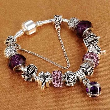 European Vintage Silver plated Crystal Women fit Original DIY Bracelet Jewelry Gift
