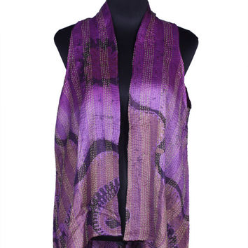 Free Shipping in US - Quilted Silk Kantha Long Shrug Up-cycled From Vintage Silk Sari Strips - Free Size