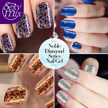 Sexymix 2017 Newest Colorful Professional Diamond Glitter Nail Gel Polish Hot Sale Purple Color Nail Gel Varnish Soak off UV Gel