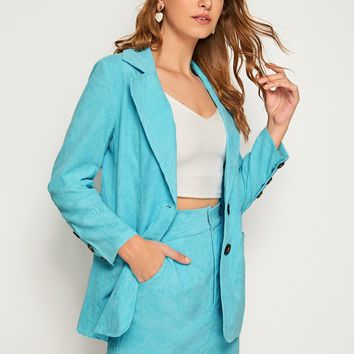 Single Button Corduroy Blazer & Skirt