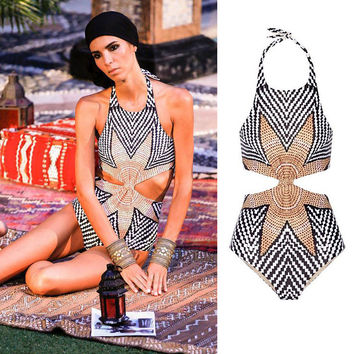 Summer New Arrival Swimsuit Hot Beach Sexy Swimwear Hot Sale Patchwork Leaf Bikini [4970292868]