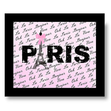 Paris Decor - Pink eiffel tower script wall art - decoration - paris theme - paris printable - paris party decoration - paris bedroom 8x10
