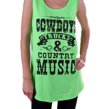 Cowboys Trucks And Country Music Tank Top Plus Size