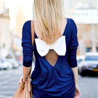 Sexy Halter With Bow-knot Long-sleeved T-shirt