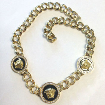 RARE Vintage Versace Solid 18K Yellow Gold Medusa Diamond Onyx Necklace