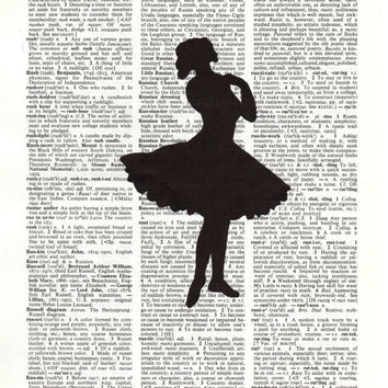 Vintage Black & White Ballerina On Dictionary Page Art Print