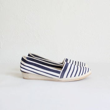 Vintage 60s Navy Striped Canvas Espadrilles | Women's 6.5