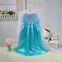2015 New Arrival Elsa Princess Girl Dresses Blue Elsa Dresses With White Lace Wape Girls Frozen Fever Anna Dresses kids clothes Z004