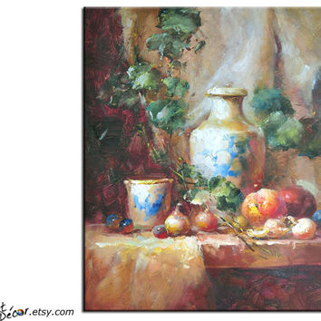 Original Art Textured Painting, Stll Life Oil Painting, Canvas Art, Dinning Room Decor