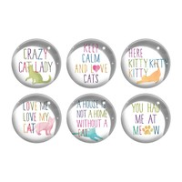 Painted Quote Cats Magnet Set - Set of 6