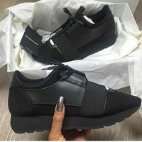 BaLenciaga Trending Women Men Personality Race Runners Sneaker Lovers Shoe Pure Black I