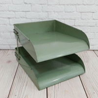 Vintage Globe Wernicke Green Metal Stacking Desk Organizer Office Paper Mail Keeper