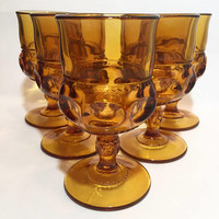 Amber Glass Goblets, Amber Kings Crown Goblets, Set of 5 Vintage Wine Glasses, Stemware