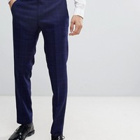 Moss London Skinny Suit Trousers in Flannel Check at asos.com