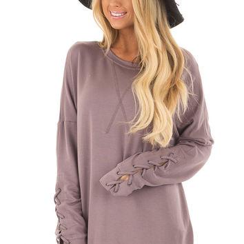 Deep Plum Sweater with Lace Up Sleeve Detail