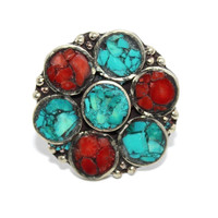 Flower coral turquoise rings