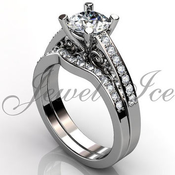 Engagement Ring Set - 14k White Gold Diamond Unique Art Deco Filigree Scroll Wedding Band Engagement Ring Set Bridal Set ER-1122-1