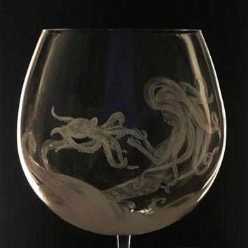 Marilla Mermaid Wine Glass, Octopus Wine Glass, Beach Decor, Nautical Decor, Mermaid Art