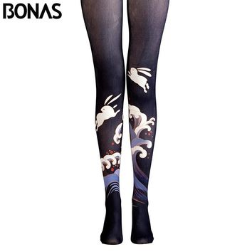 BONAS Black Pantyhose Cute Rabbit Bunny Tights Anima