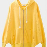 Cotton, Blends Yellow Long Bat Sleeve Full Zip Hooded Hoodie  style cy820017