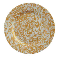 Porcelain Marble Salad Plate Gold/Silver - 8""