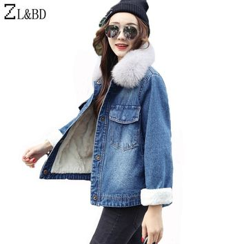 Trendy ZL&BD chaqueta mujer Women Winter Denim Jacket and Coat 2018 Real Fox Fur Thick Lambswool Jacket Outerwear Coat Parka ZA1001 AT_94_13