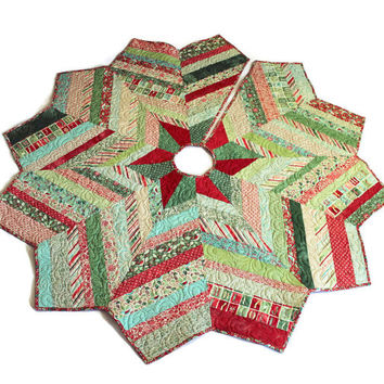 Christmas Tree Skirt Quilt - Evergreen by Basic Grey Quilted Tree Skirt Chevron Style, Moda Fabrics, Quiltsy Handmade
