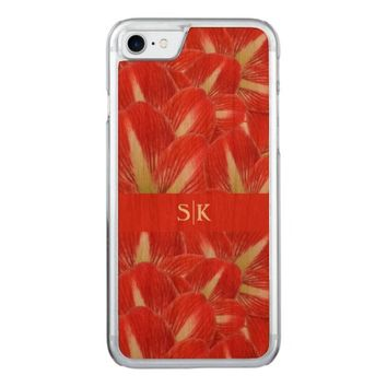 Winter Holiday Red Amaryllis Floral Monogram Carved iPhone 7 Case