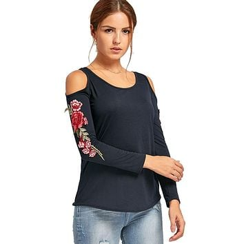 Long Sleeve Cold Shoulder Embroidery Top